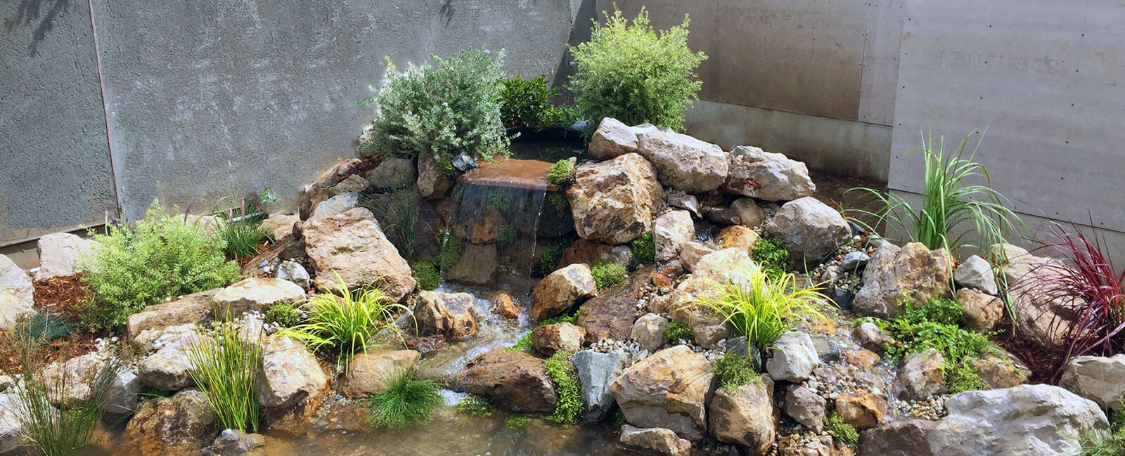 natural rock waterfall installation in Simi Valley