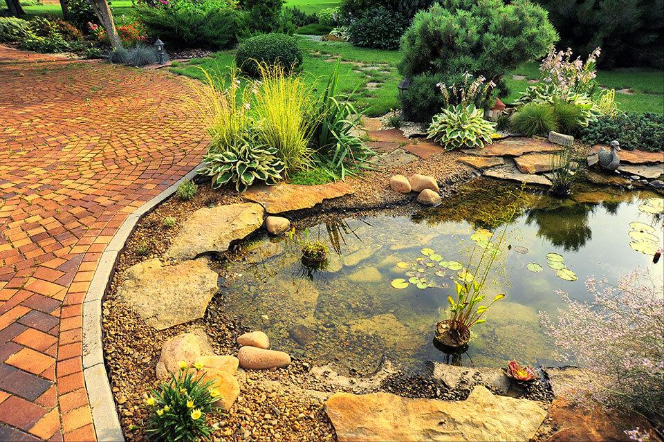 custom natural stone pond construction