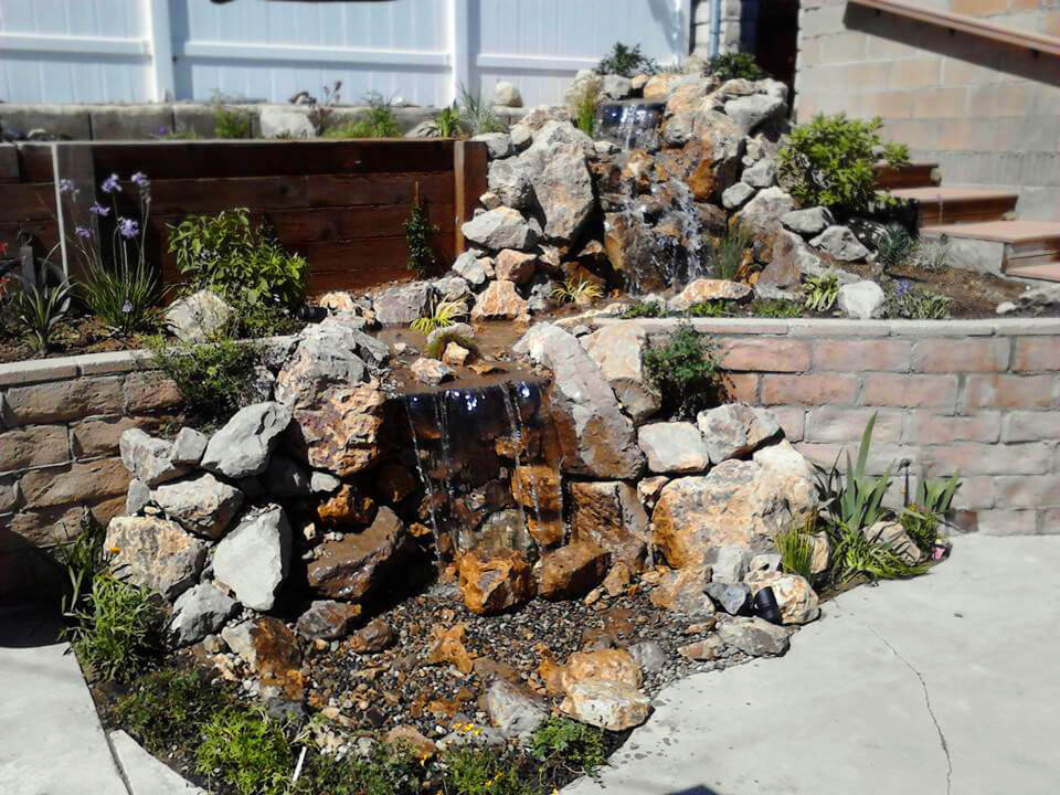 Custom retaining wall waterfall built in Canoga Park, CA
