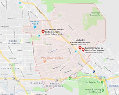 Burbank, CA map
