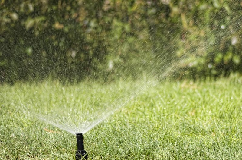 a sprinkler system that's running