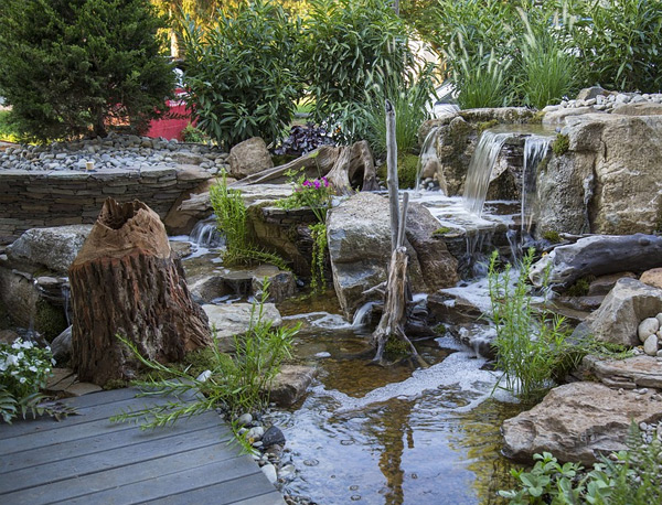 a finished backyard pond with waterfall in Calabasas, CA